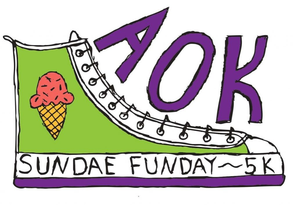 """a cartoon of a sneaker with an ice cream cone on it and the words """"AOK Sundae Funday"""""""