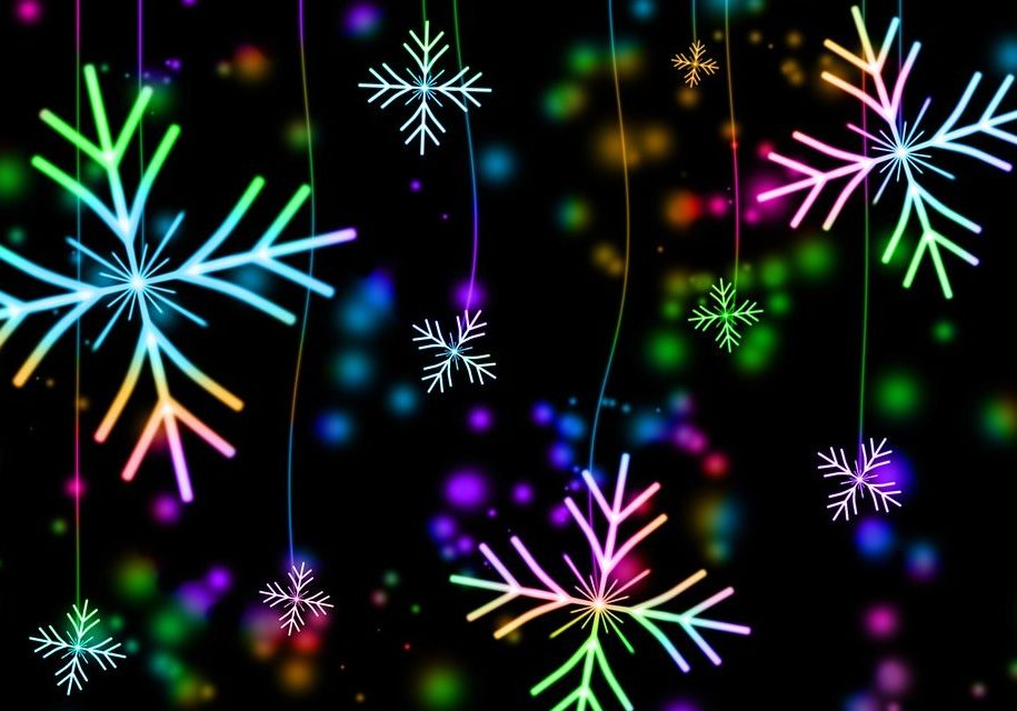 neon colored snowflakes against a black background